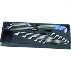 Module Servante clés fourches polygonales et de clés mâles 6 Pans - 21 pièces King tony