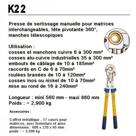Presse de sertissage pour matrices interchangeables K22